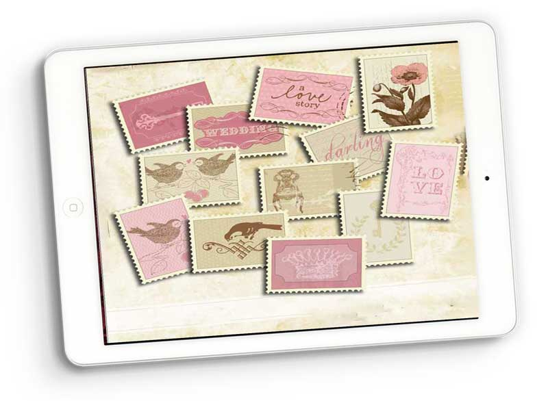 love stamps graphic elements