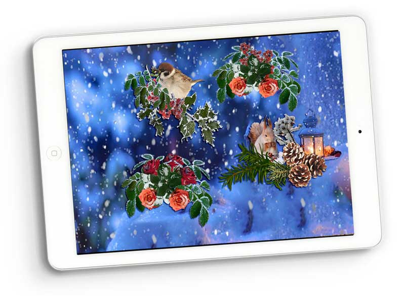 Wintertime clusters digital scrapbooking
